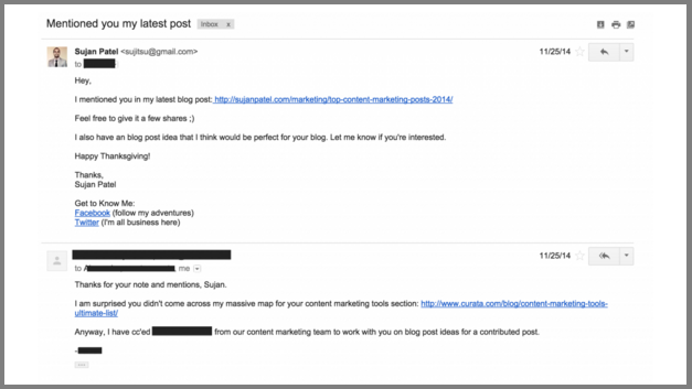 An example of an outreach email Sujan Patel sends to other businesses