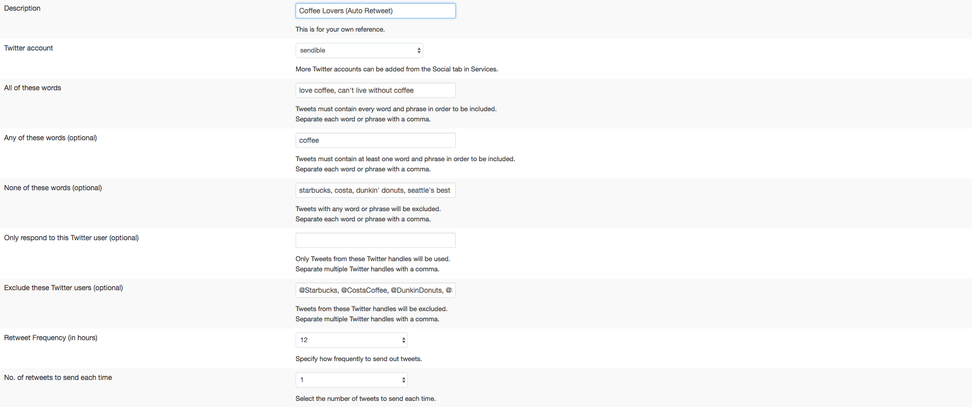 Setting up an automatic retweet service for terms related to coffee