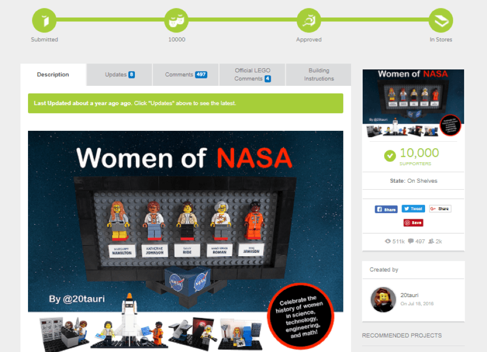 Lego - Women of NASA collaboration