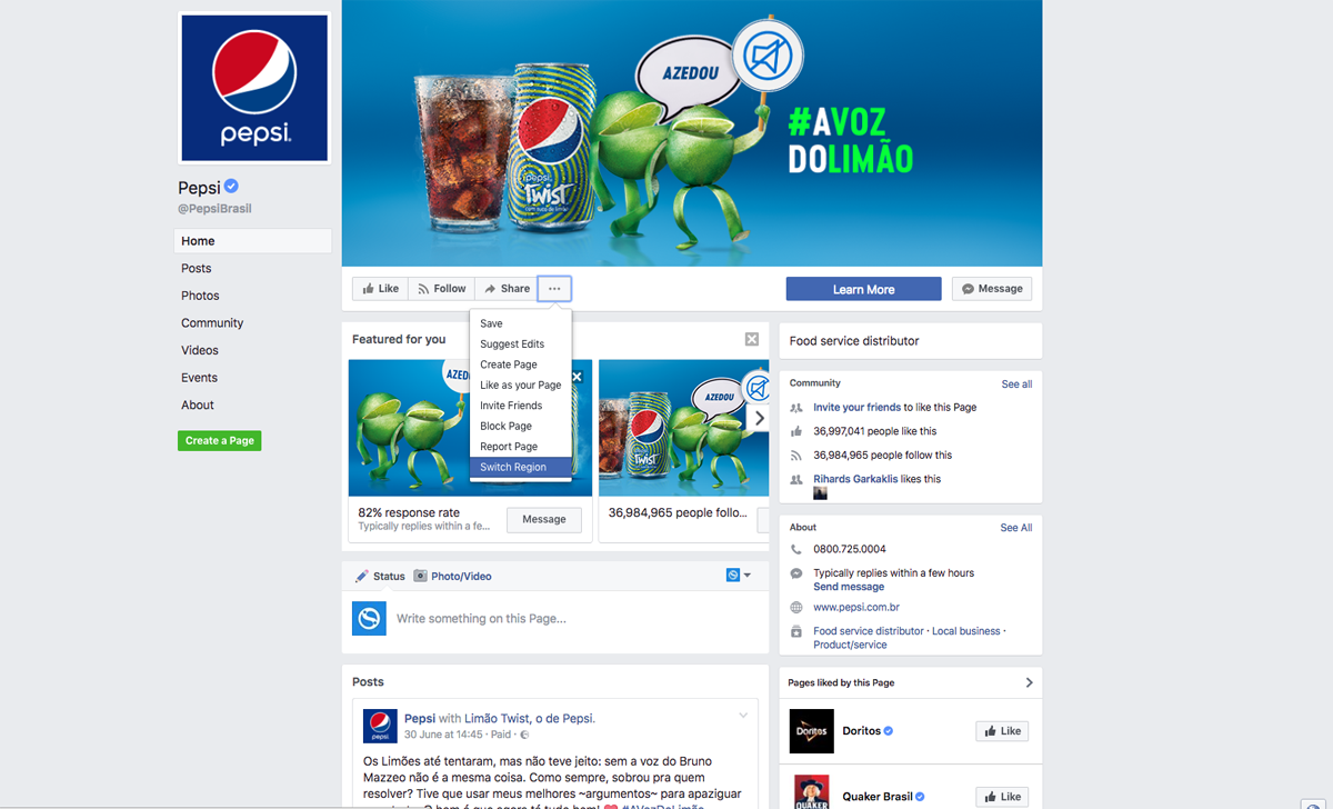 Pepsi Global Page for Brazil - switching regions
