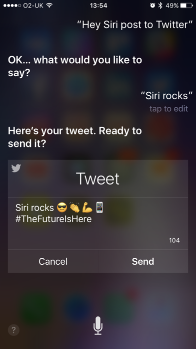 Siri can send social media posts to Twitter and Facebook