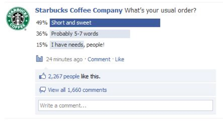 Starbucks creates polls to ask about customer preferences