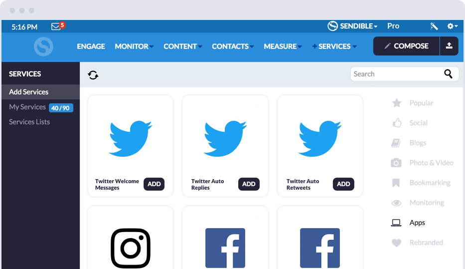 Social media automation tools for Twitter, Instagram and Facebook
