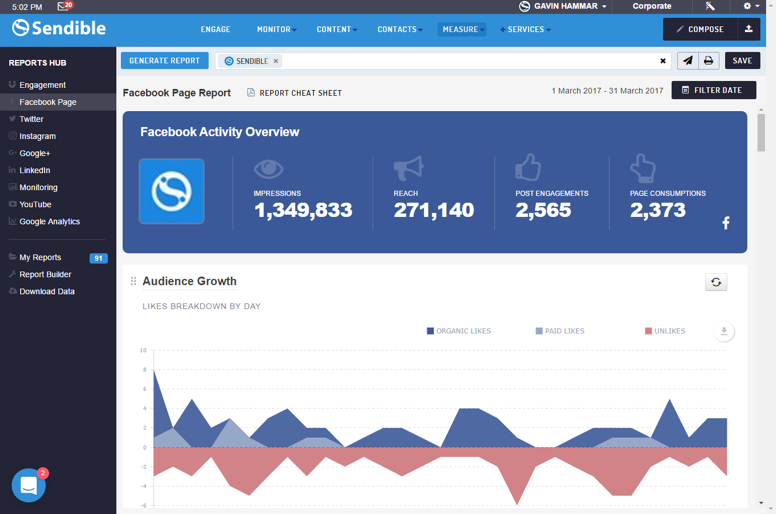 New Facebook Reports in Sendible's Reports Hub