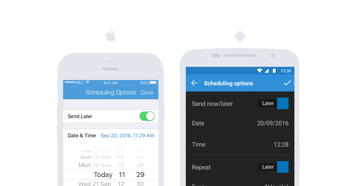 Sendible mobile app scheduling options