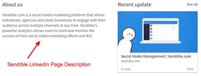 Sendible LinkedIn Page Description