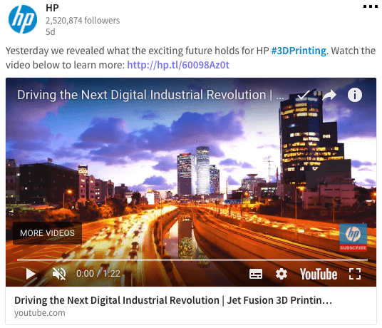 HP - LinkedIn Page Content