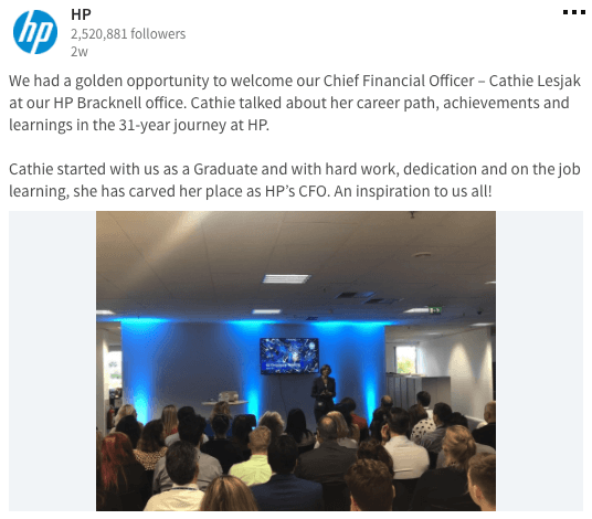 HP LinkedIn Page Content