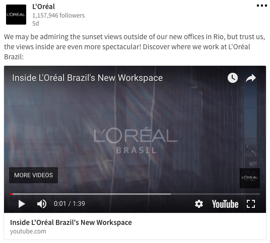 Loreal LinkedIn Company Page Content