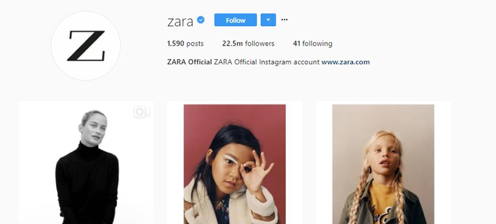 Zara's Instagram page
