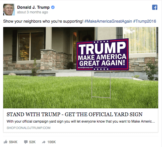 Donald Trump election campaign ad on Facebook