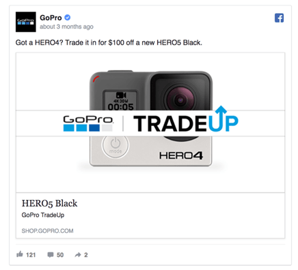 Example of a retargeting ad on Facebook after a previous purchase