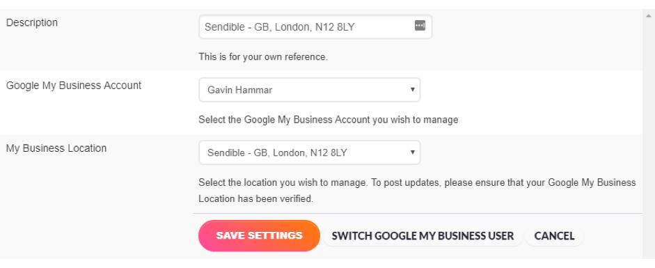 Adding a Google My Business posting service on Sendible