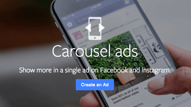 Carousel ads on Facebook and Instagram