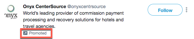 Example of a promoted account on Twitter versus a promoted tweet