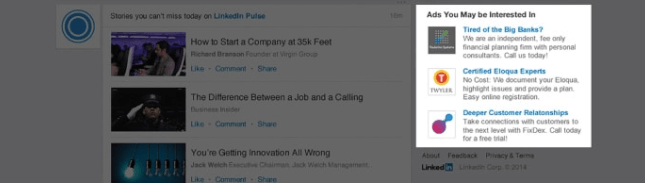 Text ads on LinkedIn appear in the desktop display
