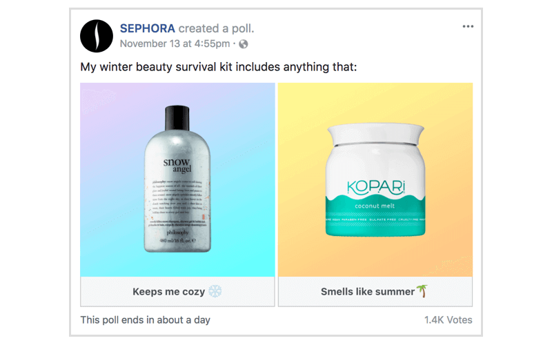 Facebook poll by Sephora