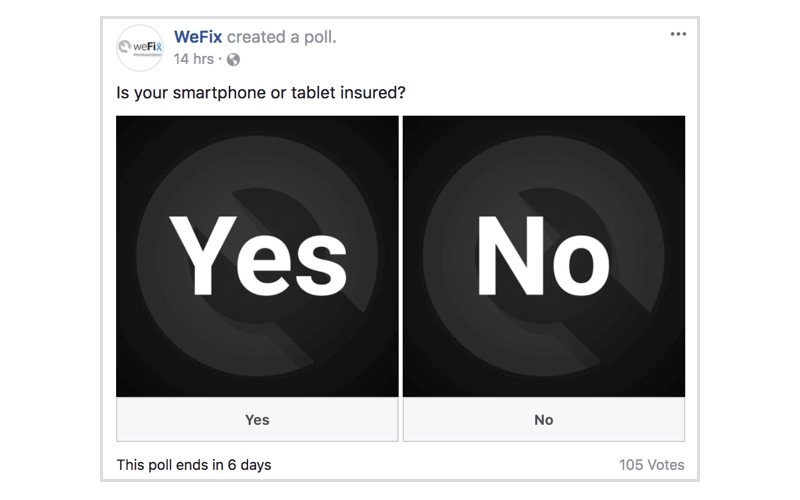 Facebook poll by WeFix