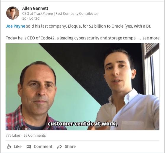 Allen Gannett has gotten popular for sharing short video interviews on LinkedIn