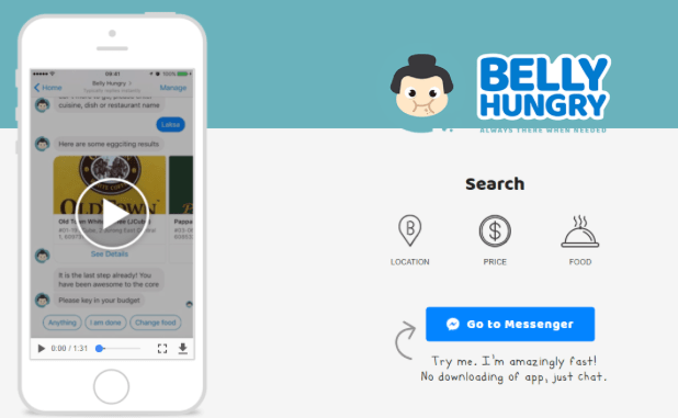 An app that uses chatbots to let you search for your favorite food