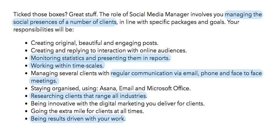 Job advert for a social media manager role for Giraffe