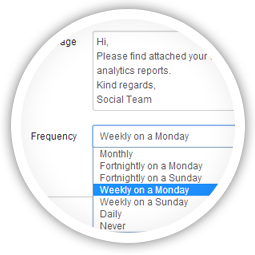 Keep your clients in the loop with scheduled email reports.